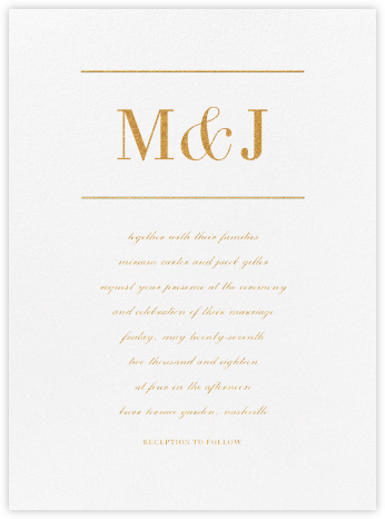 Monogram - Gold - Vera Wang - Wedding Invitations