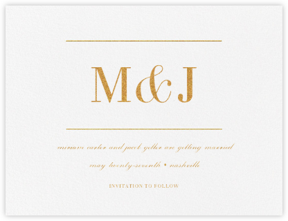 Monogram (Save the Date) - Gold - Vera Wang - Save the dates