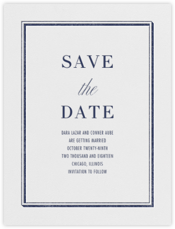 Parapet (Save the Date) - Navy - Vera Wang - Classic save the dates