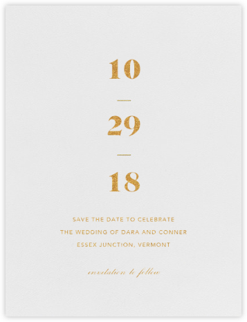 Mast (Save the Date) - Gold - Vera Wang - Gold and metallic save the dates