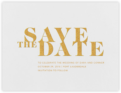 Prelude (Save the Date) - Gold - Vera Wang - Gold and metallic save the dates