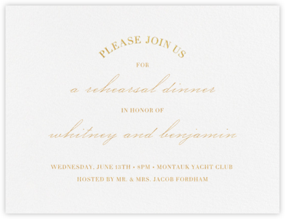 Lancet - Gold - Vera Wang - Wedding Weekend Invitations