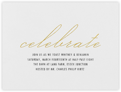 Revel - Gold - Vera Wang - Engagement party invitations