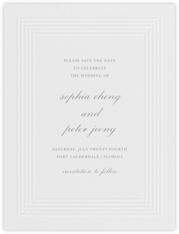Plinth (Save the Date) - Pewter Gray - Vera Wang -