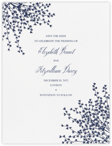 Forsythia (Save the Date) - Navy - Crane & Co. - Crane & Co stationery