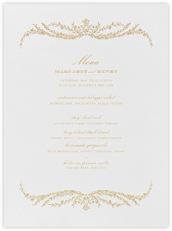 Wedding menus and programs available in paper online at daphne menu medium gold stopboris Images