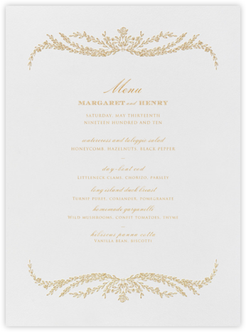 Daphne (Menu) - Medium Gold - Crane & Co. - Wedding menus and programs - available in paper