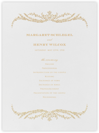 Daphne (Program) - Medium Gold - Crane & Co. - Wedding menus and programs - available in paper