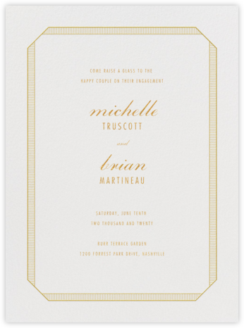 Grosgrain - Gold - Vera Wang - Engagement party invitations