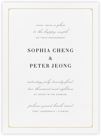 Ledger - Gold - Vera Wang - Engagement party invitations