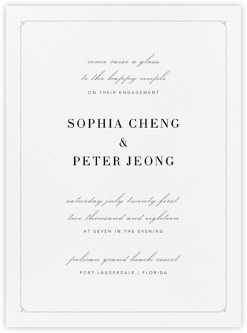 Ledger - Platinum - Vera Wang - Engagement party invitations