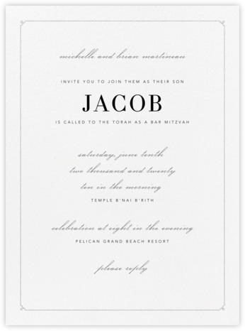 Ledger - Platinum - Vera Wang - Bar and Bat Mitzvah Invitations