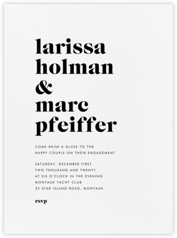 Principle - Black - Vera Wang - Engagement party invitations