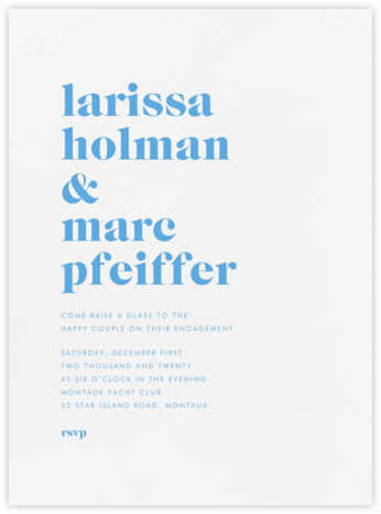 Principle - Newport Blue - Vera Wang - Engagement party invitations