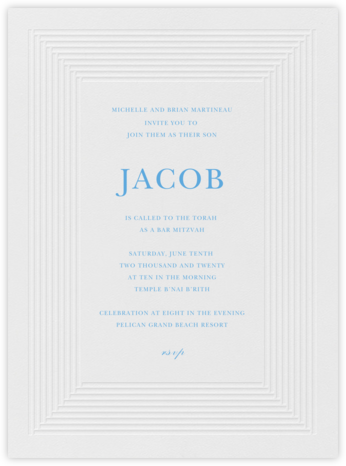 Plinth - Newport Blue - Vera Wang - Bar and Bat Mitzvah Invitations