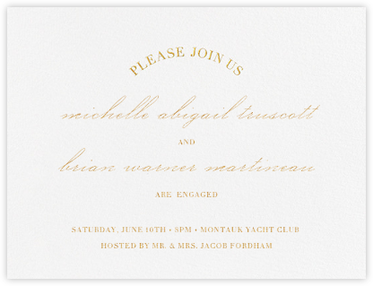 Lancet - Gold - Vera Wang - Engagement party invitations