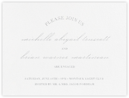 Lancet - Platinum - Vera Wang - Engagement party invitations
