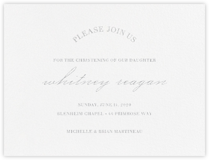 Lancet - Platinum - Vera Wang - Christening Invitations