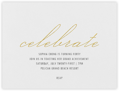 Revel - Gold - Vera Wang - Adult Birthday Invitations