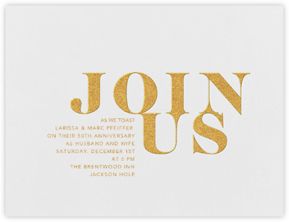 Overture - Gold - Vera Wang - Anniversary party invitations
