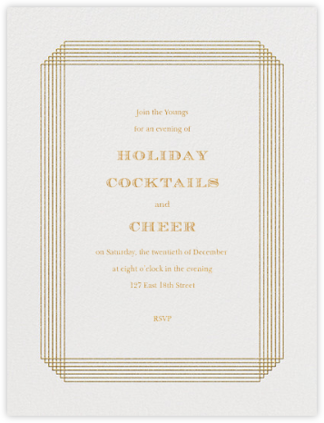 Escalier (Invitation) - Ivory and Gold - Paperless Post - Business Party Invitations