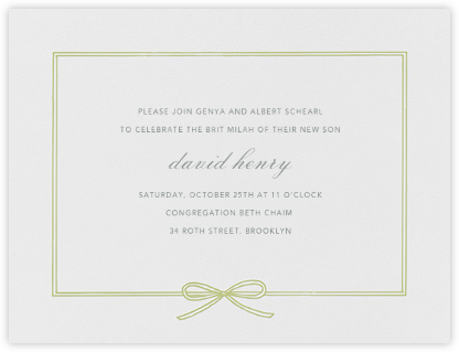 Amande - Celery - Paperless Post - Bris and baby naming invitations