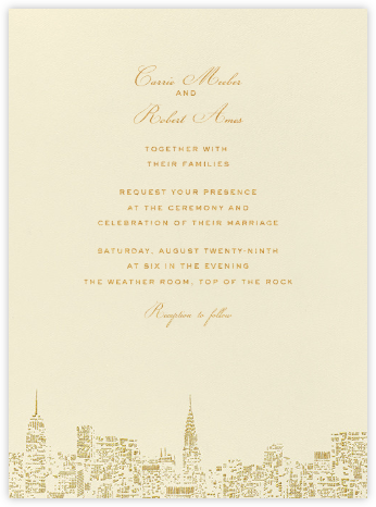 City Lights I - kate spade new york - Destination wedding invitations