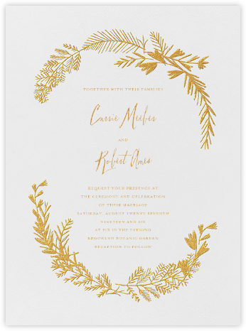 Miss Mimi Margeaux I (Invitation) - Gold - Mr. Boddington's Studio - Wedding Invitations