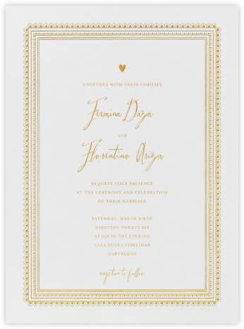 Miss Cricket (Invitation) - Gold - Mr. Boddington's Studio -