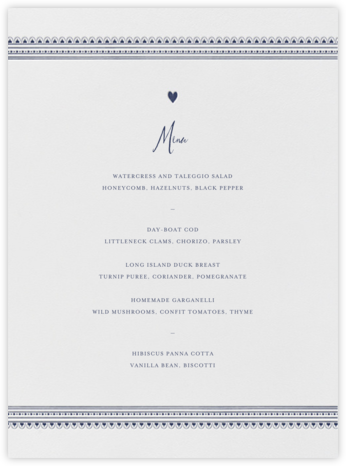 Miss Cricket (Menu) - Navy - Mr. Boddington's Studio - Wedding menus and programs - available in paper