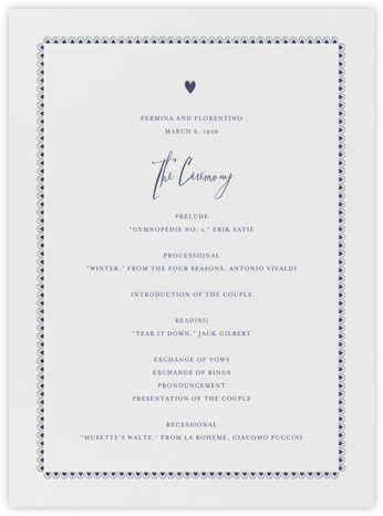 Miss Cricket (Program) - Navy - Mr. Boddington's Studio - Wedding menus and programs - available in paper