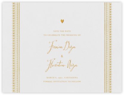 Miss Cricket (Save the Date) - Gold - Mr. Boddington's Studio - Gold and metallic save the dates