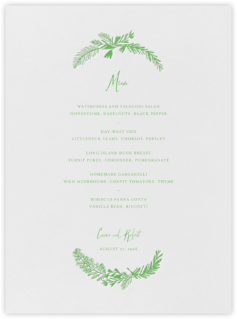 Miss Mimi Margeaux I (Menu) - Spring Green - Mr. Boddington's Studio - Wedding menus and programs - available in paper