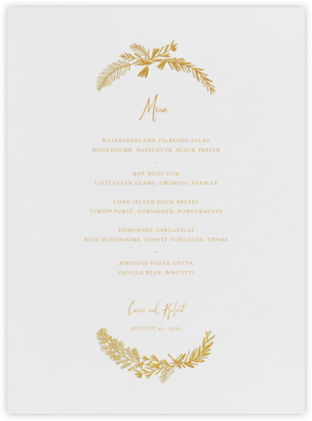 Miss Mimi Margeaux I (Menu) - Gold - Mr. Boddington's Studio - Wedding menus and programs - available in paper