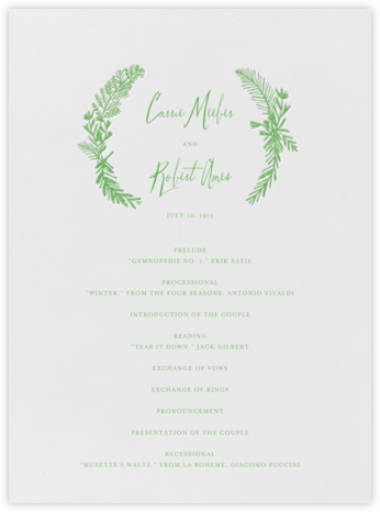 Miss Mimi Margeaux I (Program) - Spring Green - Mr. Boddington's Studio - Wedding menus and programs - available in paper