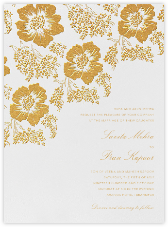 Falling Poppies I (Invitation) - Oscar de la Renta - Indian Wedding Cards