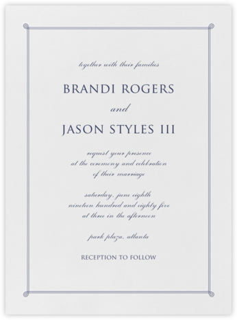 Double Loop Frame I (Invitation) - Navy  - Paperless Post -