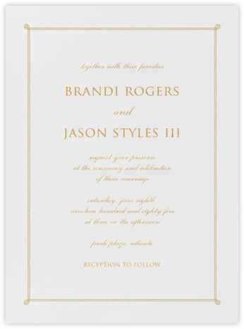 Double Loop Frame I (Invitation) - Gold - Paperless Post - Classic wedding invitations