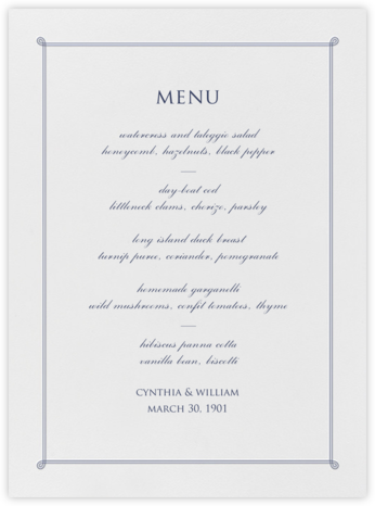 Double Loop Frame I (Menu) - Navy - Paperless Post - Wedding menus and programs - available in paper