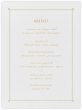 Double Loop Frame I (Menu) - Gold - Paperless Post - Wedding menus and programs - available in paper
