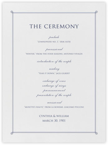 Double Loop Frame I (Program) - Navy - Paperless Post - Wedding menus and programs - available in paper