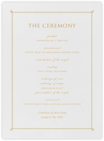 Double Loop Frame I (Program) - Gold - Paperless Post - Wedding menus and programs - available in paper