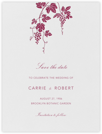 Vineyard I (Save the Date) - Burgundy - Paperless Post - Save the dates