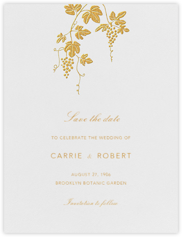Vineyard I (Save the Date) - Gold - Paperless Post - Save the dates