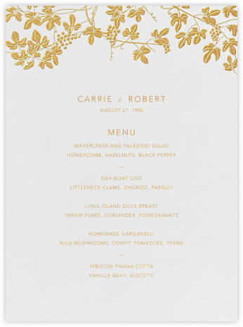Vineyard I (Menu) - Gold - Paperless Post - Wedding menus and programs - available in paper