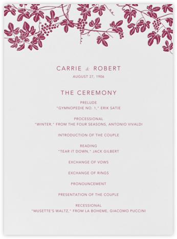 Vineyard I (Program) - Burgundy - Paperless Post - Wedding menus and programs - available in paper
