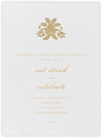 Leaf Lace Il - Medium Gold - Oscar de la Renta - Reception invitations
