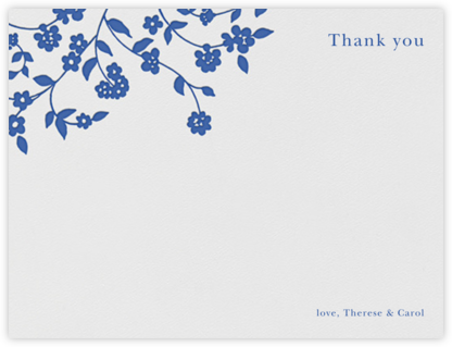 Floral Trellis I (Stationery) - Regent Blue - Oscar de la Renta - Wedding thank you cards