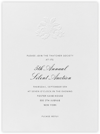 Leaf Lace Il - Blind Emboss and Black - Oscar de la Renta - Charity and fundraiser invitations