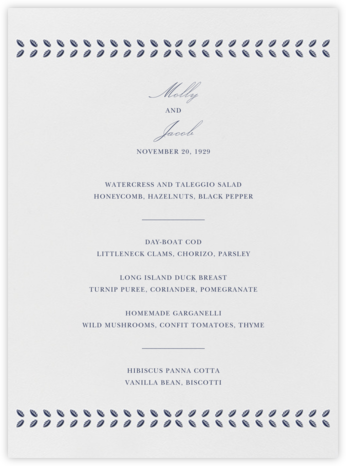 Kayitz I (Menu) - Navy - Paperless Post - Wedding menus and programs - available in paper